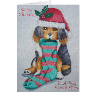 cute black and brown puppy with christmas stocking greeting card