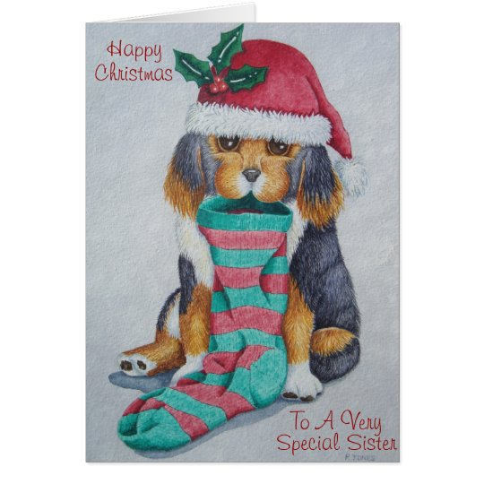 cute black and brown puppy with christmas stocking card