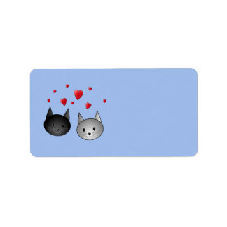 Cute Black and Gray Cats, with Hearts. Address Label