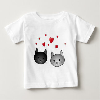 Cute Black and Gray Cats, with Hearts. Baby T-Shirt