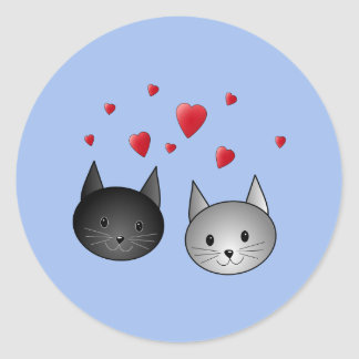 Cute Black and Gray Cats, with Hearts. Classic Round Sticker