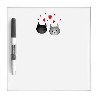 Cute Black and Gray Cats, with Hearts. Dry Erase Board