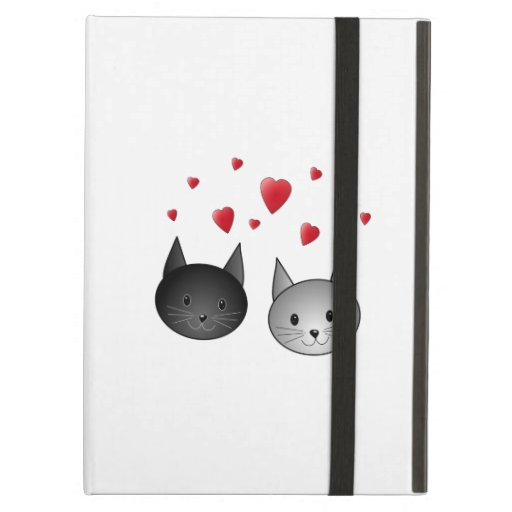 Cute Black and Gray Cats, with Hearts. iPad Covers