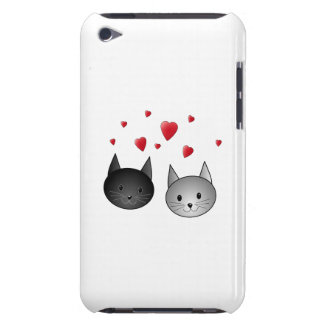 Cute Black and Gray Cats, with Hearts. iPod Touch Case-Mate Case
