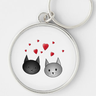 Cute Black and Gray Cats, with Hearts. Key Ring