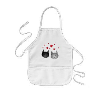 Cute Black and Gray Cats, with Hearts. Kids Apron
