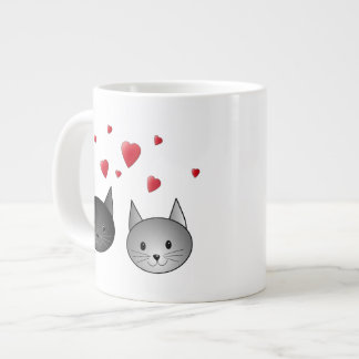 Cute Black and Gray Cats, with Hearts. Large Coffee Mug