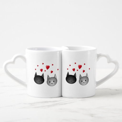 Cute Black and Gray Cats, with Hearts. Couples Mug