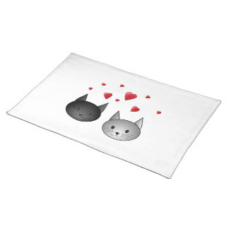 Cute Black and Gray Cats, with Hearts. Placemat