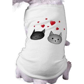 Cute Black and Gray Cats, with Hearts. Sleeveless Dog Shirt