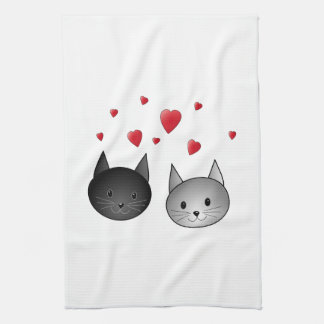 Cute Black and Gray Cats, with Hearts. Tea Towel