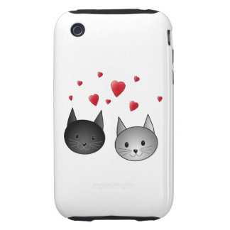 Cute Black and Gray Cats, with Hearts. Tough iPhone 3 Case