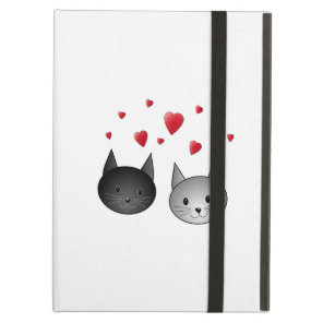 Cute Black and Grey Cats, with Hearts. iPad Air Case