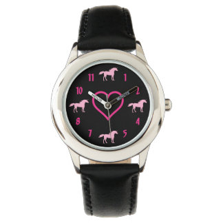 Cute Black and Pink Unicorn Kids Watch for Girls