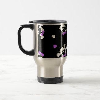 Cute Black and Purple Skull and Heart Print Travel Mug