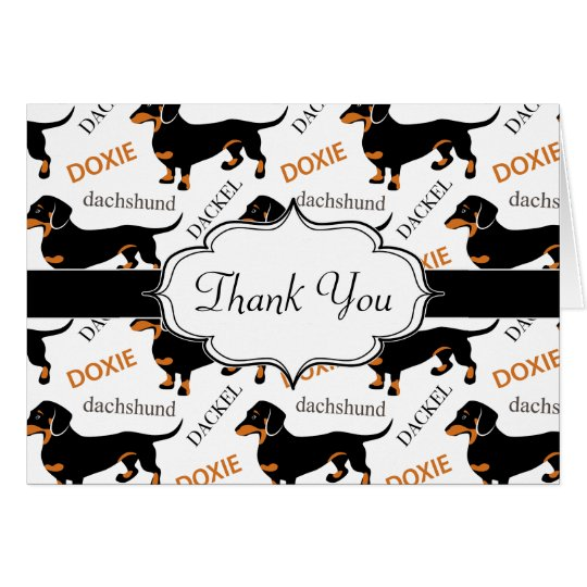 Cute Black and Tan Dachshund Pattern Card