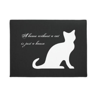 Cute black and white cat door mat with funny quote