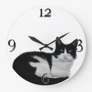 Cute Black And White Cat Wall Clock