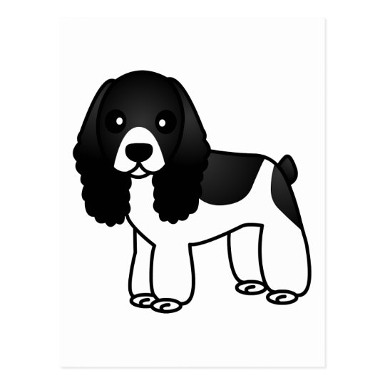Cute Black and White Cocker Spaniel Cartoon Postcard
