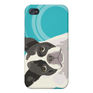 Cute Black and White French Bulldog on Blue Back Case For The iPhone 4