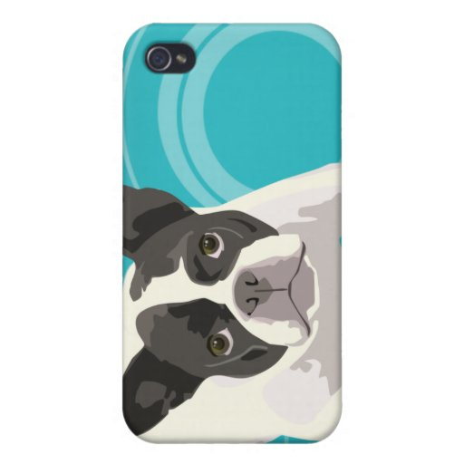 Cute Black and White French Bulldog on Blue Back iPhone 4 Case