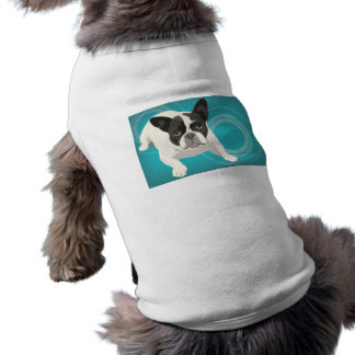 Cute Black and White French Bulldog on Blue Back Shirt