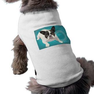 Cute Black and White French Bulldog on Blue Back Sleeveless Dog Shirt