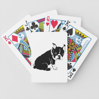 Cute Black and White French Bulldog Puppy Bicycle Playing Cards