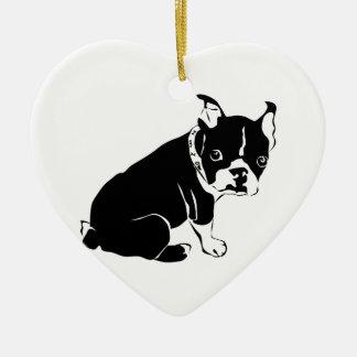 Cute Black and White French Bulldog Puppy Ceramic Heart Decoration