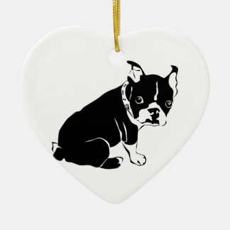 Cute Black and White French Bulldog Puppy Christmas Ornament