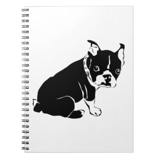 Cute Black and White French Bulldog Puppy Notebook