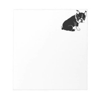 Cute Black and White French Bulldog Puppy Notepad