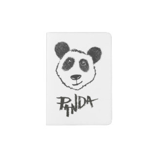 Cute Black and White Hand Drawn Panda Typography Passport Holder