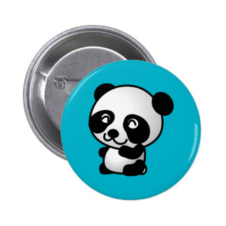 Cute black and white happy panda bear 6 cm round badge