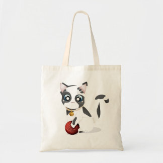 Cute Black and White Kitten with Red Ball Bag