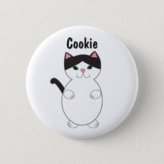 Cute Black and White Kitty Cat Personalize 6 Cm Round Badge