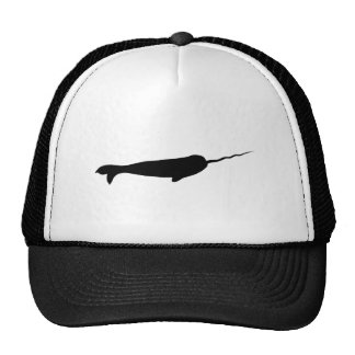 Cute Black and White Narwhal Silhouette Cap