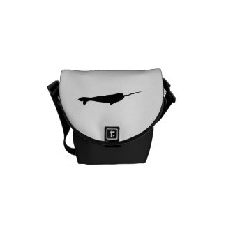 Cute Black and White Narwhal Silhouette Commuter Bag
