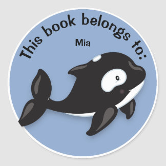 Cute Black and White Orca Whale Book Name Plate Classic Round Sticker