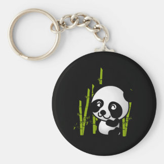 Cute black and white panda bear in a bamboo grove. basic round button key ring