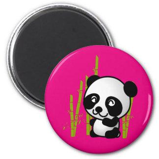 Cute black and white panda bear in a bamboo grove. fridge magnets