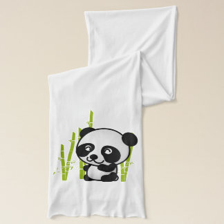 Cute black and white panda bear in a bamboo grove. scarf