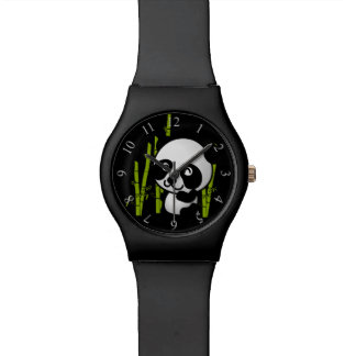 Cute black and white panda bear in a bamboo grove. wristwatches