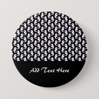 Cute Black and White Seahorse Pattern 7.5 Cm Round Badge