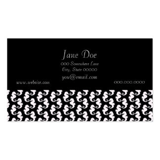 Cute Black and White Seahorse Pattern Business Card Templates