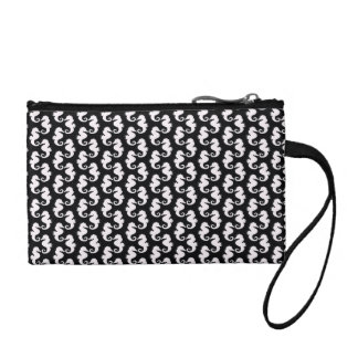 Cute Black and White Seahorse Pattern Change Purses