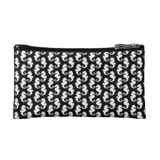 Cute Black and White Seahorse Pattern Makeup Bag