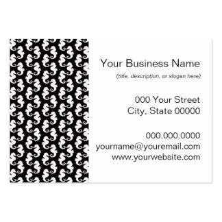 Cute Black and White Seahorse Pattern Pack Of Chubby Business Cards