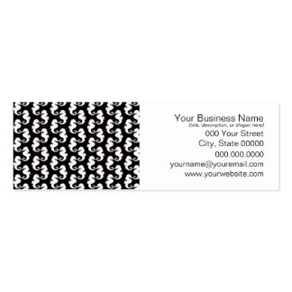 Cute Black and White Seahorse Pattern Pack Of Skinny Business Cards