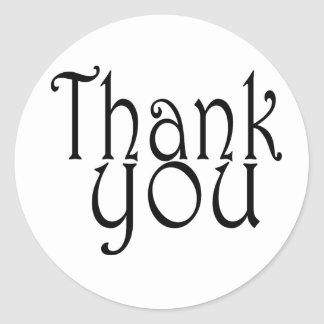 Cute Black And White Thank You Seals Round Sticker